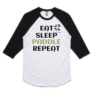 Eat Sleep Paddle Repeat - Unisex Raglan Tee Thumbnail